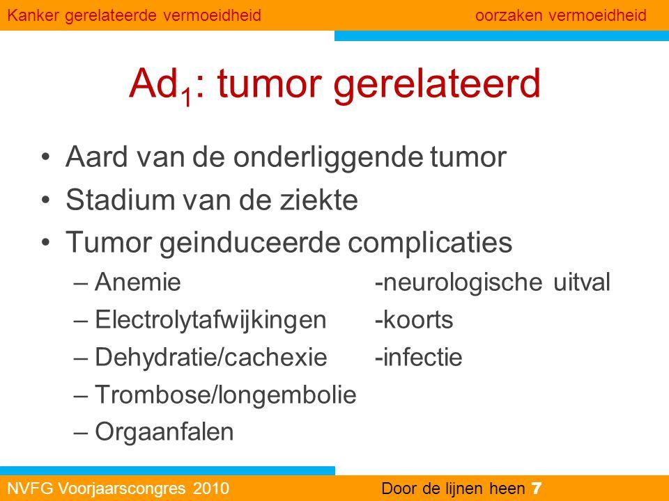 Ad 1 : tumor gerelateerd •Aard van de onderliggende tumor •Stadium van de ziekte •Tumor geinduceerde complicaties –Anemie-neurologische uitval –Electr