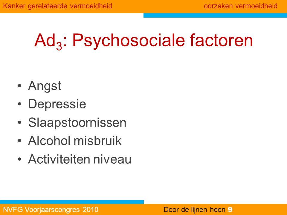 Ad 3 : Psychosociale factoren •Angst •Depressie •Slaapstoornissen •Alcohol misbruik •Activiteiten niveau NVFG Voorjaarscongres 2010Door de lijnen heen