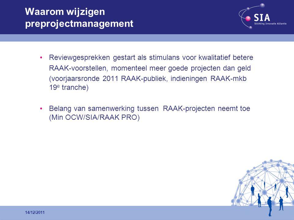 •Reviewgesprekken gestart als stimulans voor kwalitatief betere RAAK-voorstellen, momenteel meer goede projecten dan geld (voorjaarsronde 2011 RAAK-pu