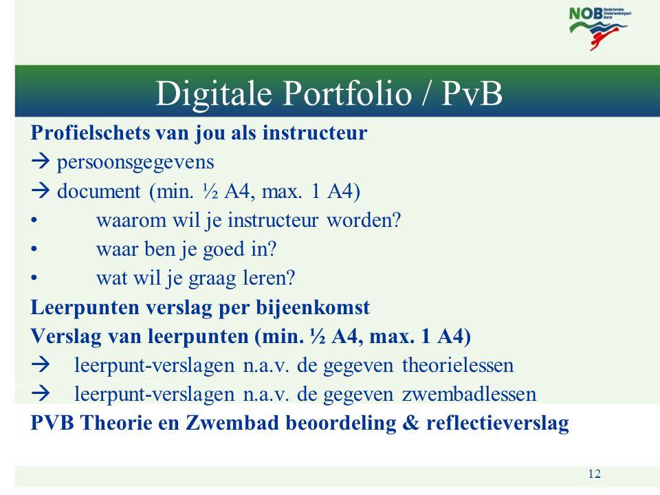 12 Digitale Portfolio / PvB Profielschets van jou als instructeur  persoonsgegevens  document (min. ½ A4, max. 1 A4) •waarom wil je instructeur word