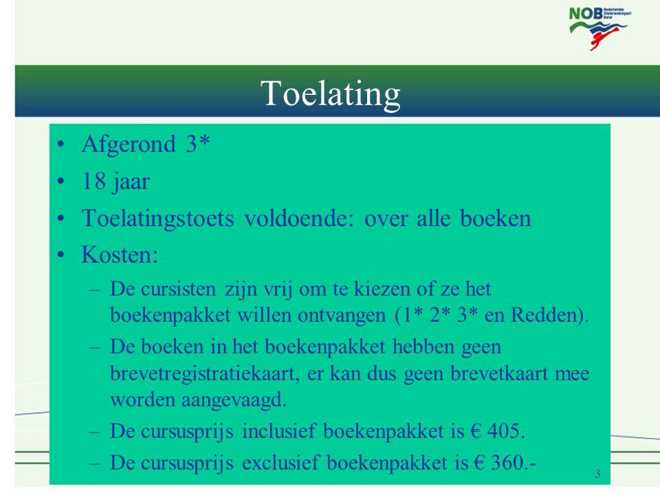 Toelating •Afgerond 3* •18 jaar •Toelatingstoets voldoende: over alle boeken •Kosten: –De cursisten zijn vrij om te kiezen of ze het boekenpakket willen ontvangen (1* 2* 3* en Redden).