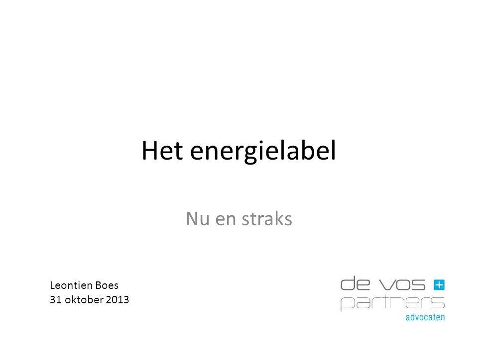 Het energielabel Nu en straks Leontien Boes 31 oktober 2013