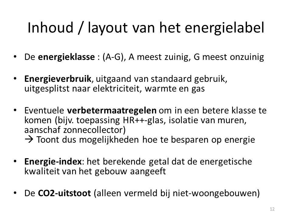 Inhoud / layout van het energielabel • De energieklasse : (A-G), A meest zuinig, G meest onzuinig • Energieverbruik, uitgaand van standaard gebruik, uitgesplitst naar elektriciteit, warmte en gas • Eventuele verbetermaatregelen om in een betere klasse te komen (bijv.