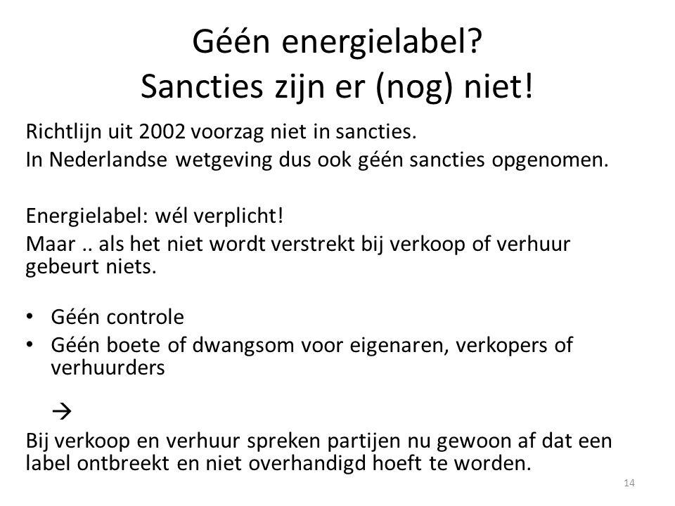 Géén energielabel.Sancties zijn er (nog) niet. Richtlijn uit 2002 voorzag niet in sancties.