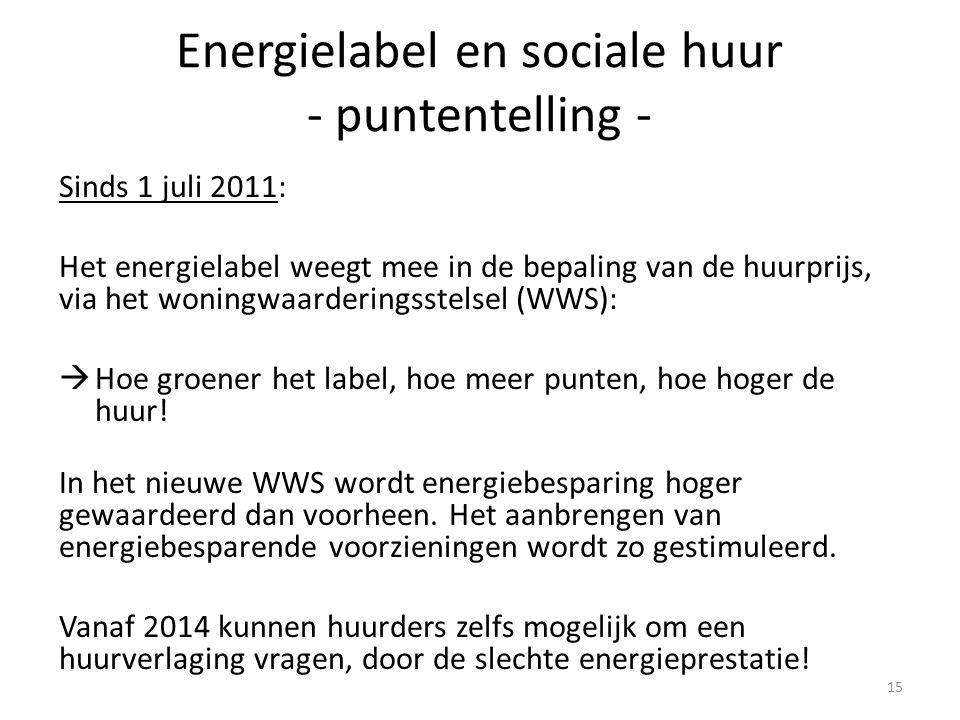 Energielabel en sociale huur - puntentelling - Sinds 1 juli 2011: Het energielabel weegt mee in de bepaling van de huurprijs, via het woningwaarderingsstelsel (WWS):  Hoe groener het label, hoe meer punten, hoe hoger de huur.