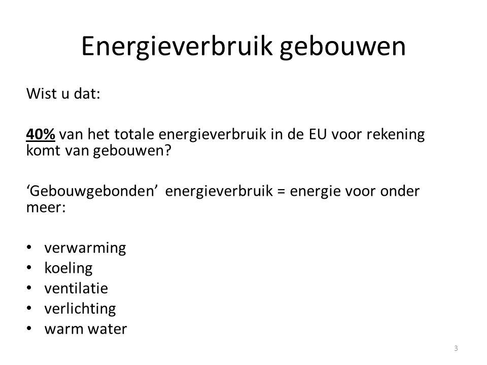 Energieprestatie van gebouwen Richtlijn EPBD • In 2002 is de EU gekomen met een richtlijn over het energieverbruik van gebouwen, de EPBD: Energy Performance of Buildings Directive • Deze richtlijn is in 2010 herzien.