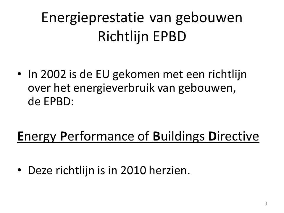 Doel richtlijn EPBD  Zorgen voor vermindering van het energieverbruik dat aan gebouwen gebonden is.