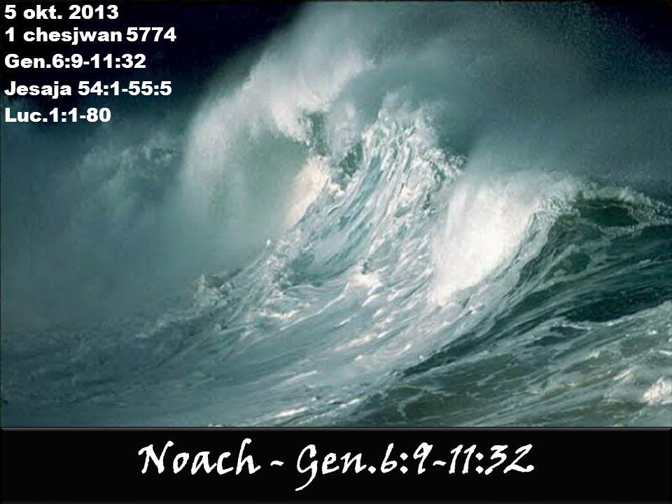 Beresjiet 6:13-15 13 Dan zegt God tot Noach: het einde van alle vlees is voor mijn aanschijn gekomen, want de aarde is door hun verschijning vervuld van geweld; ziehier, ik ga hen verderven, met de aarde; 14 jij, maak jij een ark van stammen cipreshout; als een vogelnest moet je de ark maken; bedekken moet je haar binnenshuis en buiten met pekdekking; 15 en zo moet je haar maken: driehonderd el de lengte van de ark, vijftig el haar breedte, dertig el haar opstand; xXnl Myhla rmayv Jrah-[a M[y[sm ynnhv Wmhynpm wmx Jrah halm-yk ynfl ab Rsb-lk Jq Wa'jomer elohiem le'noach qetz kal basar ba'lefanai ki malah ha'arets chamas me'pnehem we'hinie chitam et ha'arets