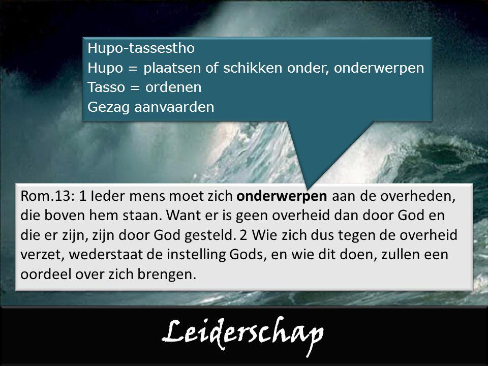 Leiden 1 Tess.5:12 Wij vragen u, broeders en zusters, diegenen onder u te erkennen die zich op gezag van de Heer ervoor inzetten u te leiden en terecht te wijzen.