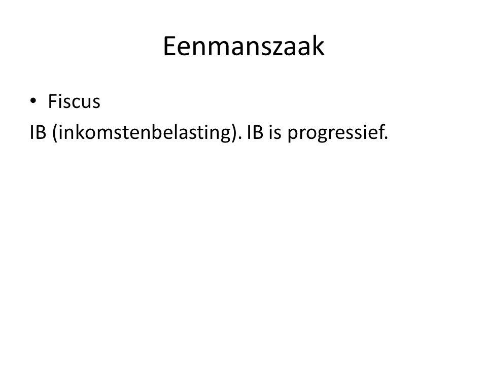 Eenmanszaak • Fiscus IB (inkomstenbelasting). IB is progressief.