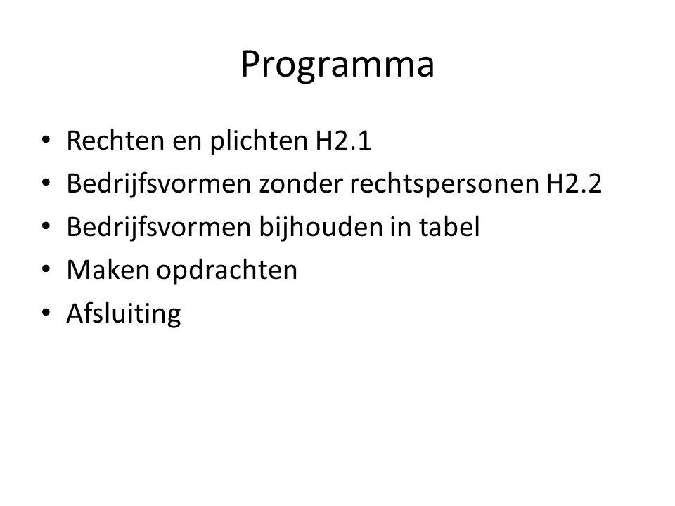 Programma • Rechten en plichten H2.1 • Bedrijfsvormen zonder rechtspersonen H2.2 • Bedrijfsvormen bijhouden in tabel • Maken opdrachten • Afsluiting