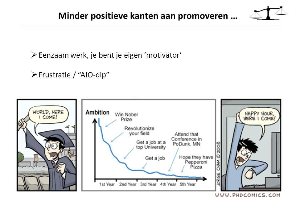 """ Eenzaam werk, je bent je eigen 'motivator'  Frustratie / """"AIO-dip"""" Minder positieve kanten aan promoveren …"""