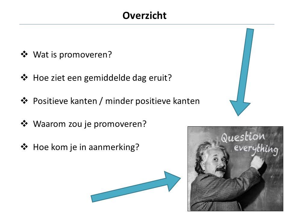  Wat is promoveren?  Hoe ziet een gemiddelde dag eruit?  Positieve kanten / minder positieve kanten  Waarom zou je promoveren?  Hoe kom je in aan