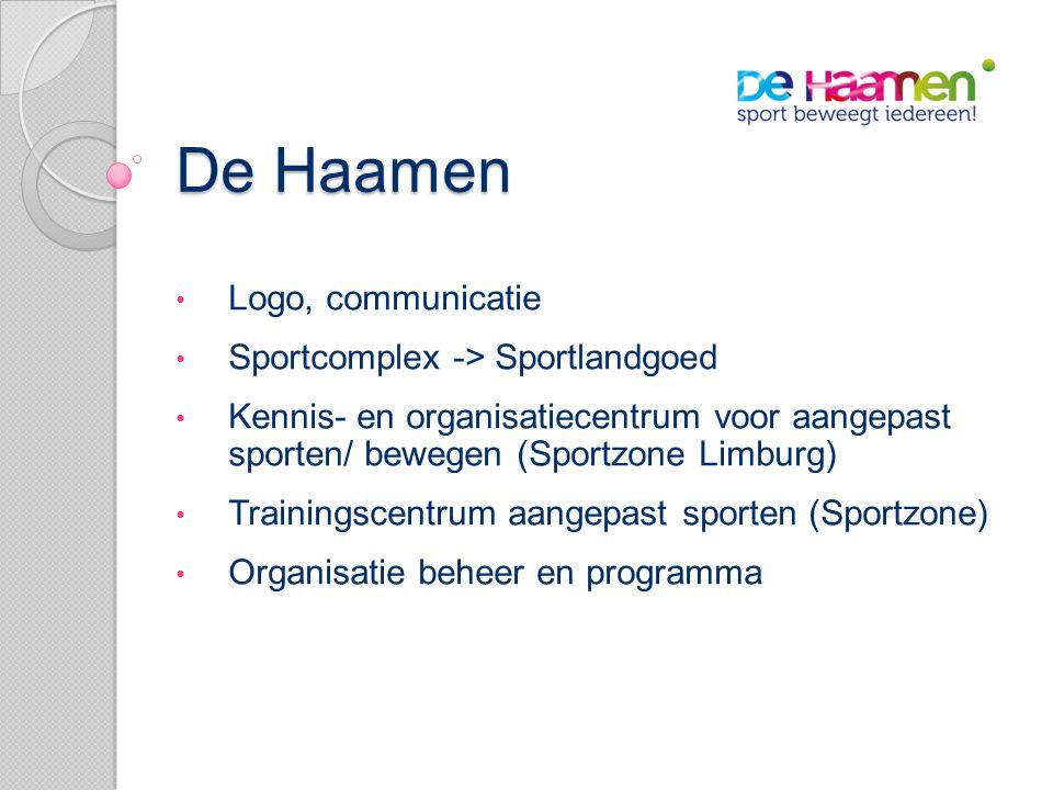De Haamen • Logo, communicatie • Sportcomplex -> Sportlandgoed • Kennis- en organisatiecentrum voor aangepast sporten/ bewegen (Sportzone Limburg) • Trainingscentrum aangepast sporten (Sportzone) • Organisatie beheer en programma