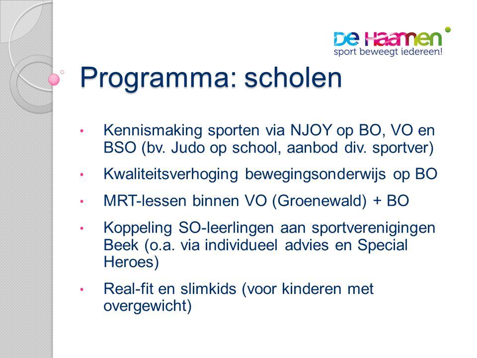 Programma: scholen • Kennismaking sporten via NJOY op BO, VO en BSO (bv.