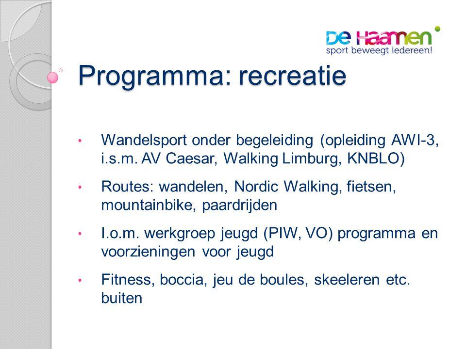 Programma: recreatie • Wandelsport onder begeleiding (opleiding AWI-3, i.s.m.