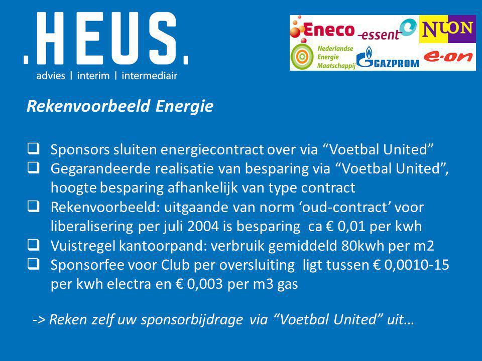Rekenvoorbeeld Energie  Sponsors sluiten energiecontract over via Voetbal United  Gegarandeerde realisatie van besparing via Voetbal United , hoogte besparing afhankelijk van type contract  Rekenvoorbeeld: uitgaande van norm 'oud-contract' voor liberalisering per juli 2004 is besparing ca € 0,01 per kwh  Vuistregel kantoorpand: verbruik gemiddeld 80kwh per m2  Sponsorfee voor Club per oversluiting ligt tussen € 0,0010-15 per kwh electra en € 0,003 per m3 gas -> Reken zelf uw sponsorbijdrage via Voetbal United uit…