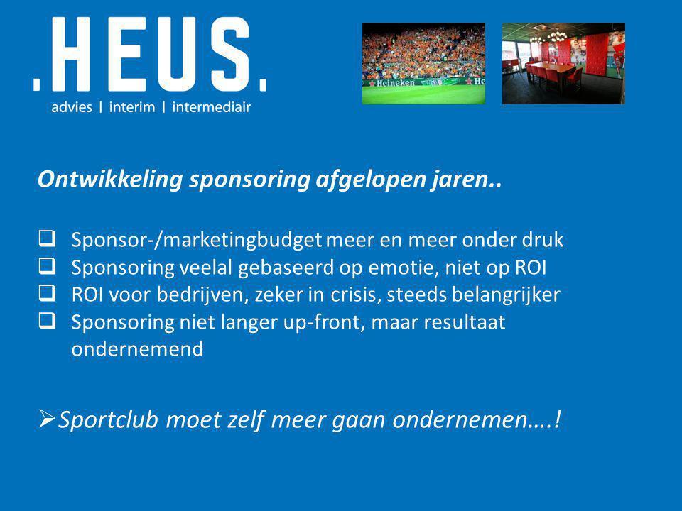 Ontwikkeling sponsoring afgelopen jaren..  Sponsor-/marketingbudget meer en meer onder druk  Sponsoring veelal gebaseerd op emotie, niet op ROI  RO