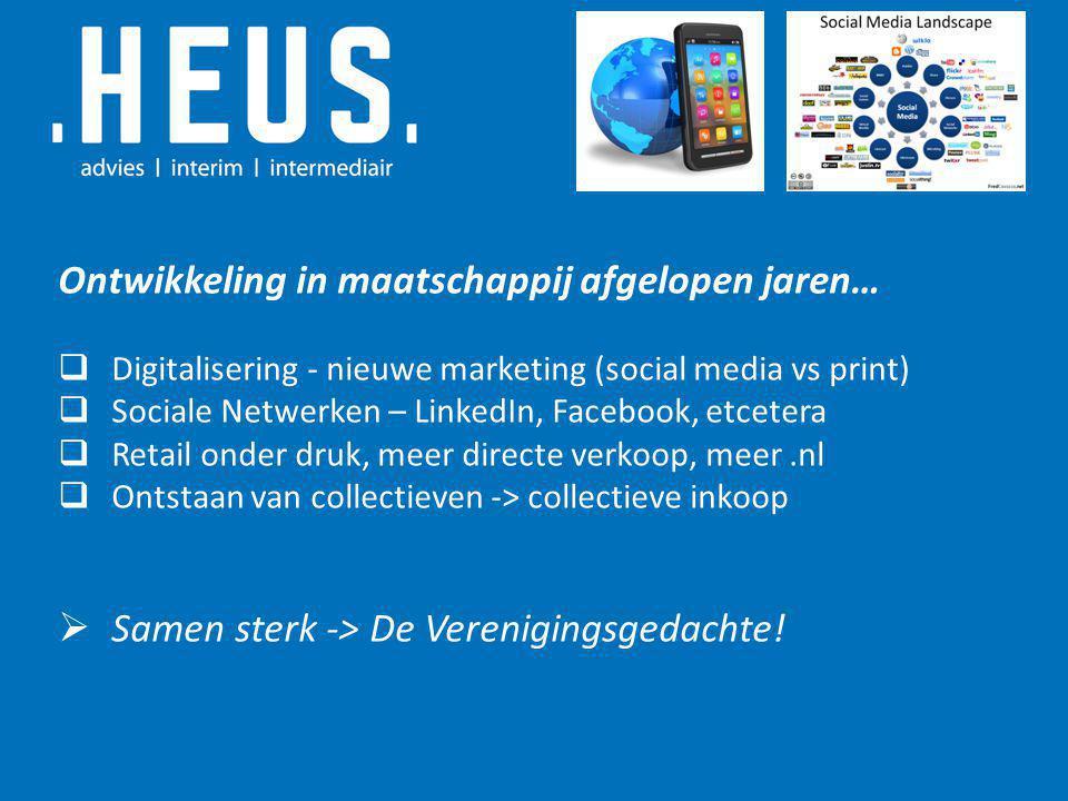 Ontwikkeling in maatschappij afgelopen jaren…  Digitalisering - nieuwe marketing (social media vs print)  Sociale Netwerken – LinkedIn, Facebook, et
