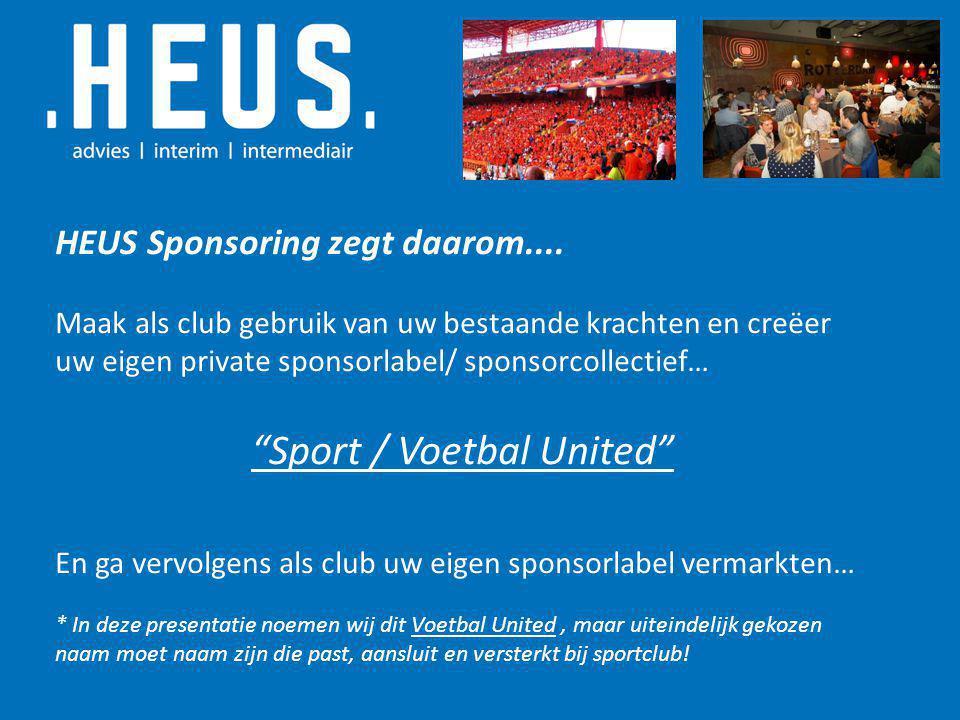 """HEUS Sponsoring zegt daarom.... Maak als club gebruik van uw bestaande krachten en creëer uw eigen private sponsorlabel/ sponsorcollectief… """"Sport / V"""