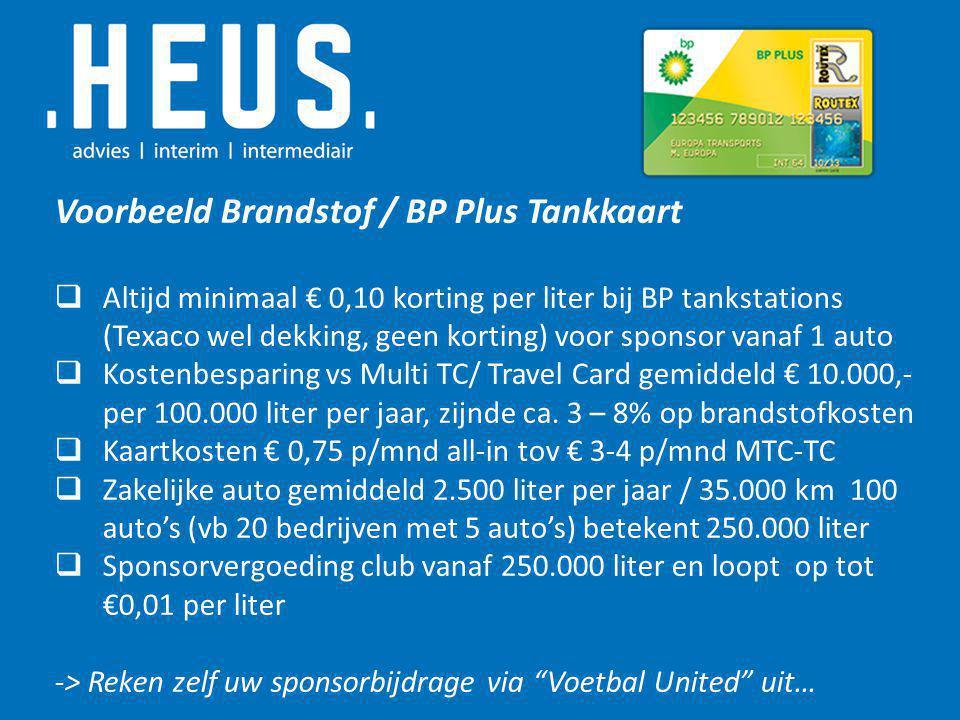 Voorbeeld Brandstof / BP Plus Tankkaart  Altijd minimaal € 0,10 korting per liter bij BP tankstations (Texaco wel dekking, geen korting) voor sponsor vanaf 1 auto  Kostenbesparing vs Multi TC/ Travel Card gemiddeld € 10.000,- per 100.000 liter per jaar, zijnde ca.
