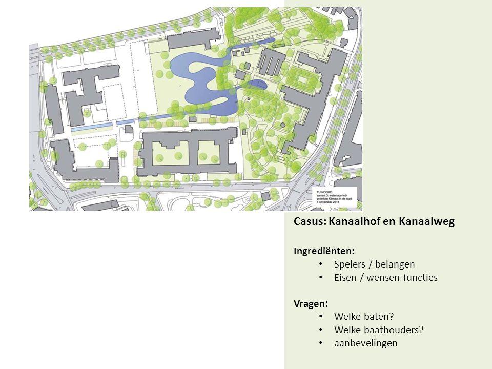 Casus: Kanaalhof en Kanaalweg Ingrediënten: • Spelers / belangen • Eisen / wensen functies Vragen : • Welke baten.
