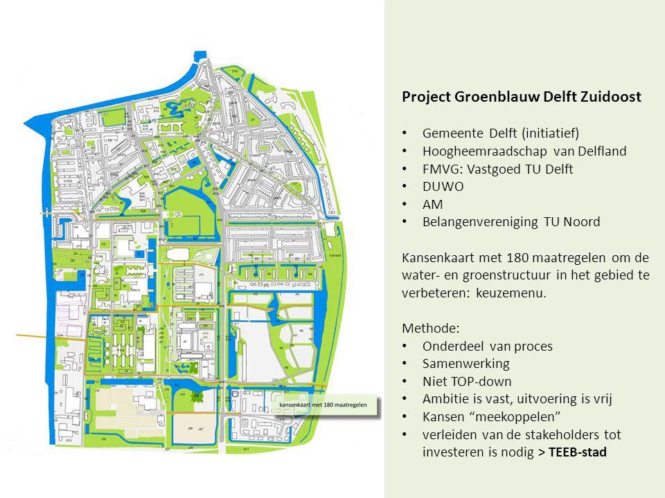 Project Groenblauw Delft Zuidoost • Gemeente Delft (initiatief) • Hoogheemraadschap van Delfland • FMVG: Vastgoed TU Delft • DUWO • AM • Belangenveren