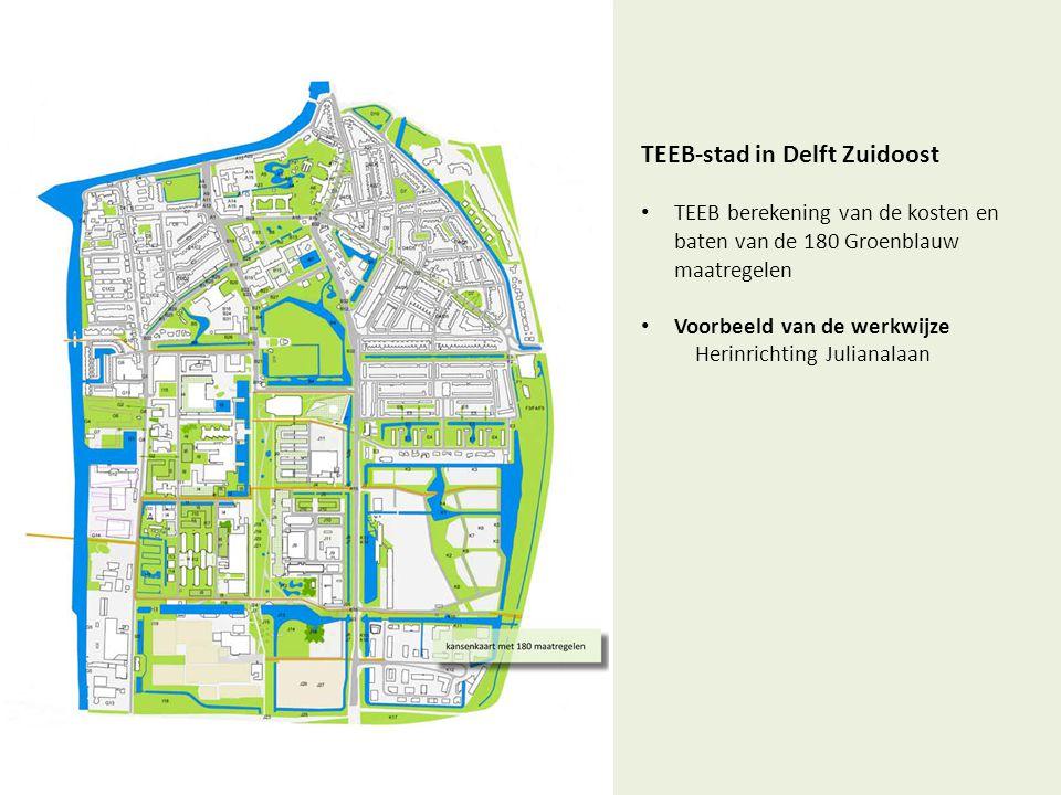 TEEB-stad in Delft Zuidoost • TEEB berekening van de kosten en baten van de 180 Groenblauw maatregelen • Voorbeeld van de werkwijze Herinrichting Juli