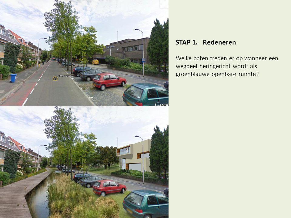 STAP 1. Redeneren Welke baten treden er op wanneer een wegdeel heringericht wordt als groenblauwe openbare ruimte?