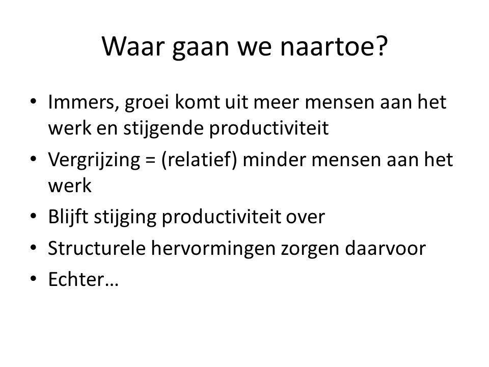Waar gaan we naartoe? • Immers, groei komt uit meer mensen aan het werk en stijgende productiviteit • Vergrijzing = (relatief) minder mensen aan het w