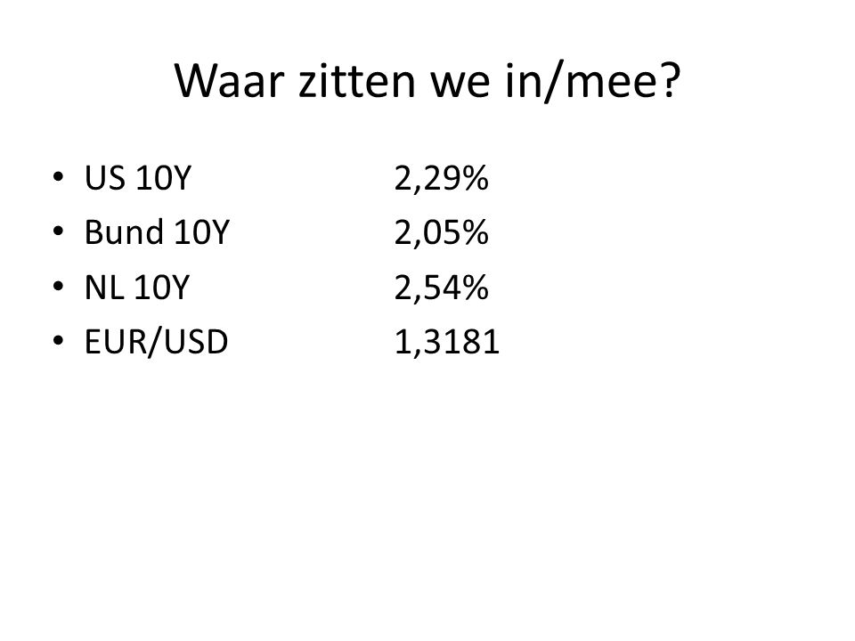 Waar zitten we in/mee? • US 10Y2,29% • Bund 10Y2,05% • NL 10Y2,54% • EUR/USD1,3181