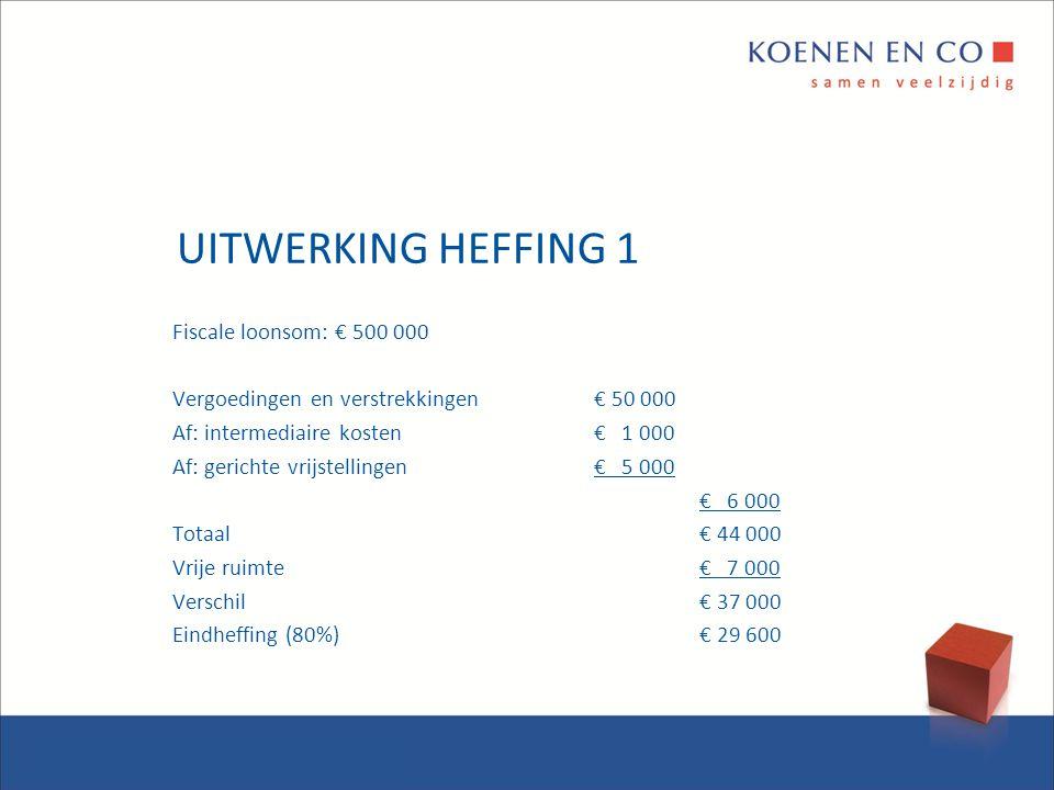 UITWERKING HEFFING 1 Fiscale loonsom: € 500 000 Vergoedingen en verstrekkingen€ 50 000 Af: intermediaire kosten€ 1 000 Af: gerichte vrijstellingen€ 5