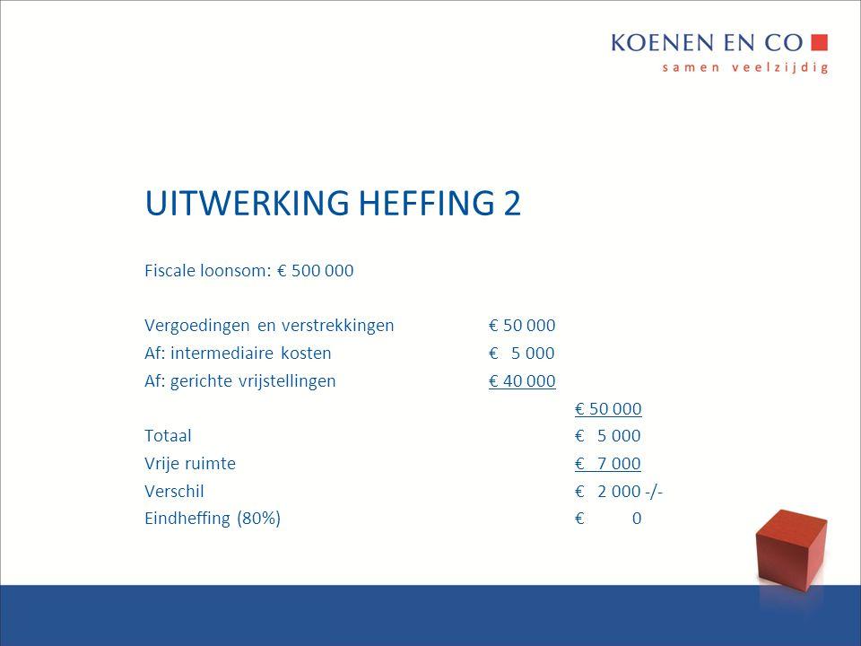 UITWERKING HEFFING 2 Fiscale loonsom: € 500 000 Vergoedingen en verstrekkingen€ 50 000 Af: intermediaire kosten€ 5 000 Af: gerichte vrijstellingen€ 40