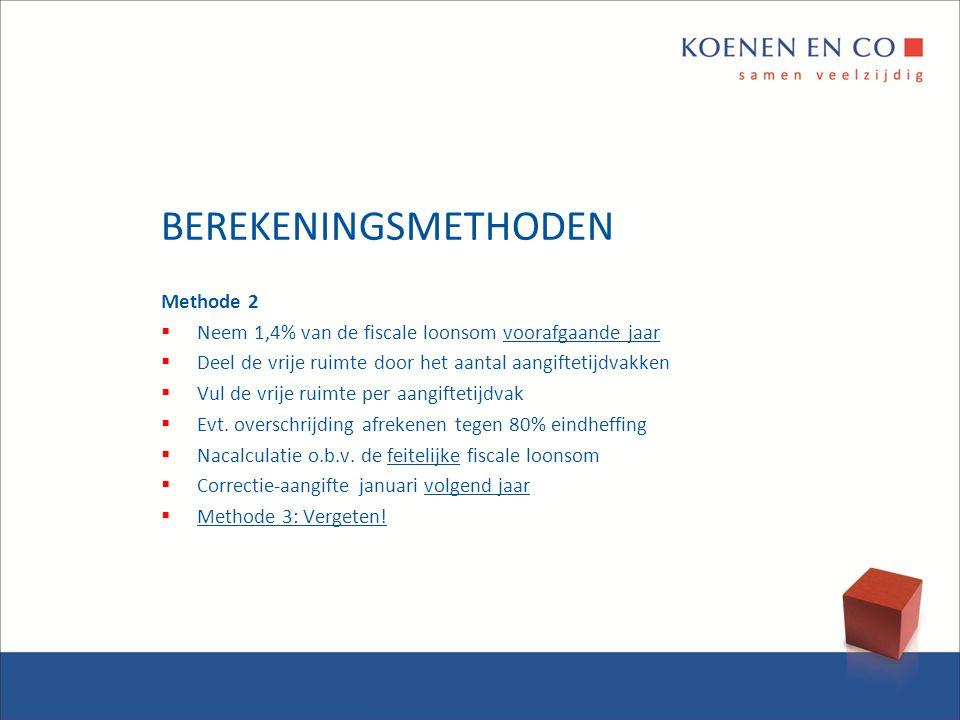 BEREKENINGSMETHODEN Methode 2  Neem 1,4% van de fiscale loonsom voorafgaande jaar  Deel de vrije ruimte door het aantal aangiftetijdvakken  Vul de