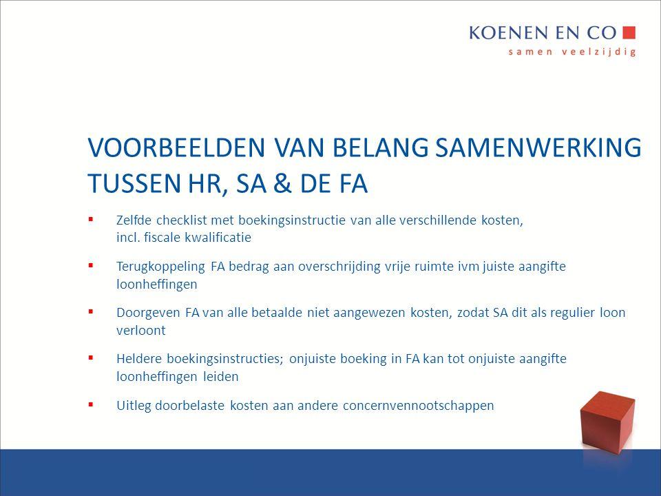 VOORBEELDEN VAN BELANG SAMENWERKING TUSSEN HR, SA & DE FA  Zelfde checklist met boekingsinstructie van alle verschillende kosten, incl. fiscale kwali