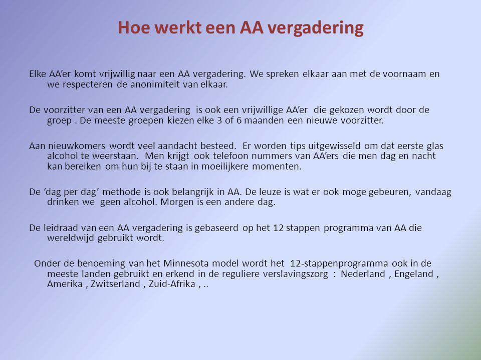 Hoe werkt een AA vergadering Elke AA'er komt vrijwillig naar een AA vergadering.