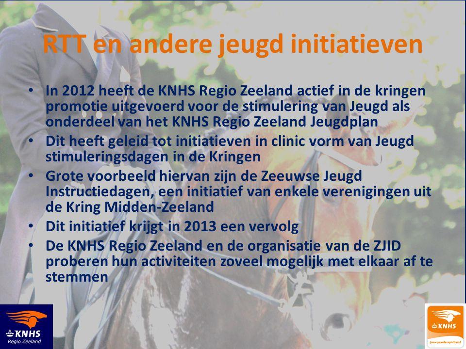 RTT en andere jeugd initiatieven • In 2012 heeft de KNHS Regio Zeeland actief in de kringen promotie uitgevoerd voor de stimulering van Jeugd als onde