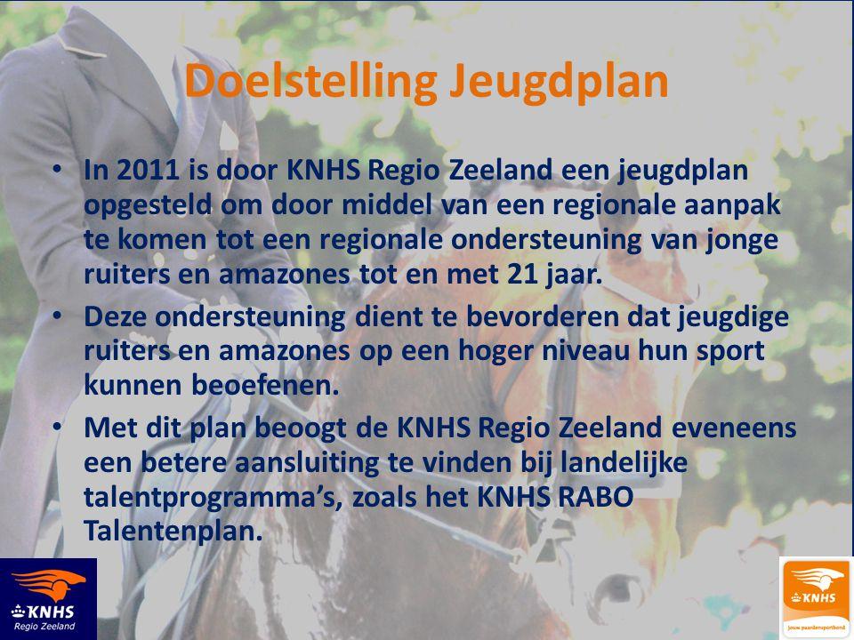 Doelstelling Jeugdplan • In 2011 is door KNHS Regio Zeeland een jeugdplan opgesteld om door middel van een regionale aanpak te komen tot een regionale ondersteuning van jonge ruiters en amazones tot en met 21 jaar.