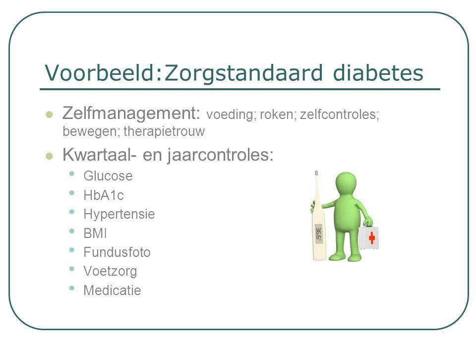 Voorbeeld:Zorgstandaard diabetes  Zelfmanagement: voeding; roken; zelfcontroles; bewegen; therapietrouw  Kwartaal- en jaarcontroles: • Glucose • HbA