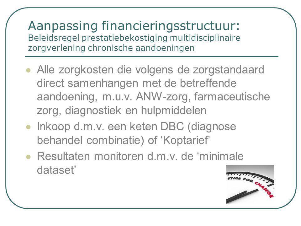 Aanpassing financieringsstructuur: Beleidsregel prestatiebekostiging multidisciplinaire zorgverlening chronische aandoeningen  Alle zorgkosten die vo