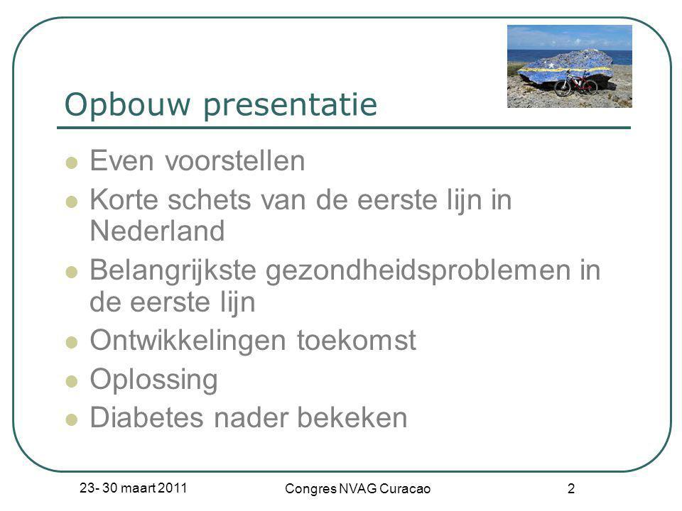 23- 30 maart 2011 Congres NVAG Curacao 2 Opbouw presentatie  Even voorstellen  Korte schets van de eerste lijn in Nederland  Belangrijkste gezondhe