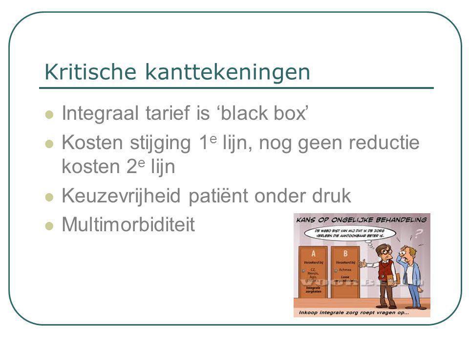 Kritische kanttekeningen  Integraal tarief is 'black box'  Kosten stijging 1 e lijn, nog geen reductie kosten 2 e lijn  Keuzevrijheid patiënt onder
