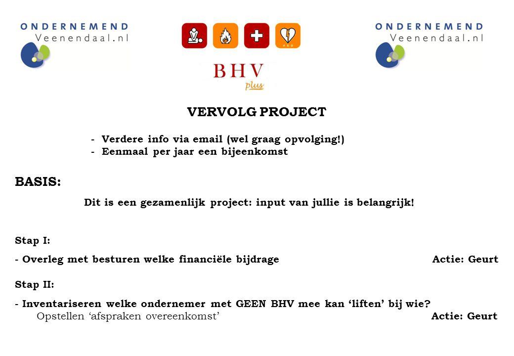 VERVOLG PROJECT - Verdere info via email (wel graag opvolging!) - Eenmaal per jaar een bijeenkomst BASIS: Dit is een gezamenlijk project: input van ju