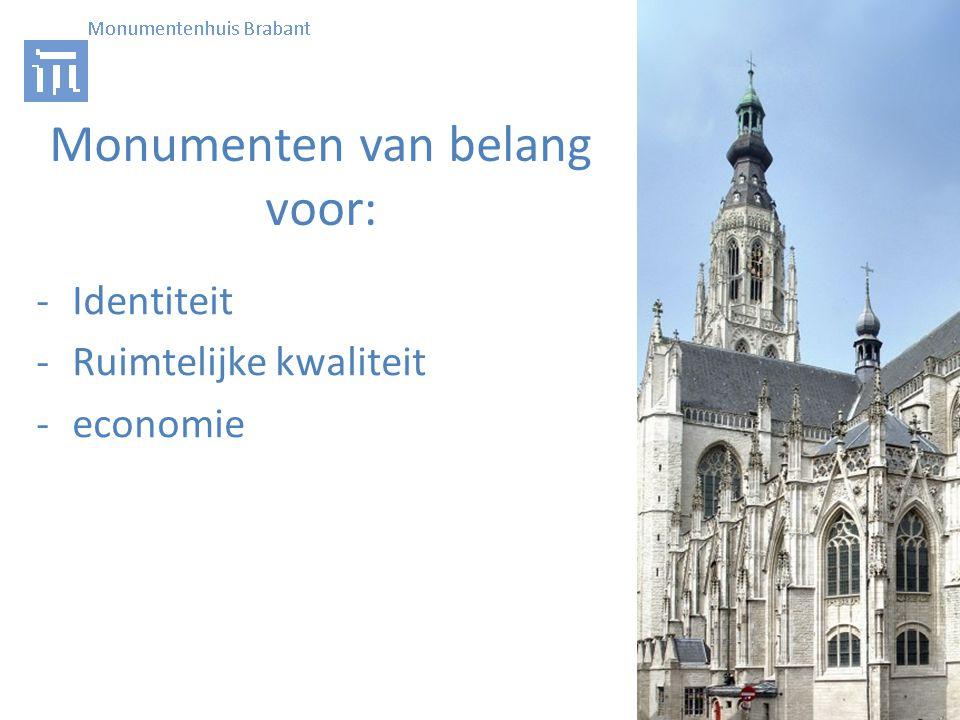 Monumenten van belang voor: -Identiteit -Ruimtelijke kwaliteit -economie