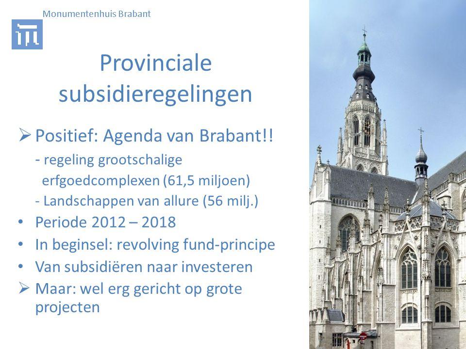 Provinciale subsidieregelingen  Positief: Agenda van Brabant!.