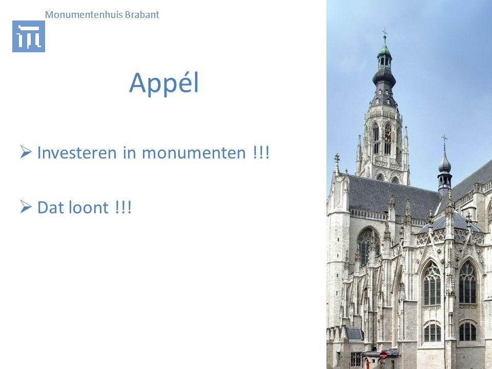 Appél  Investeren in monumenten !!!  Dat loont !!!