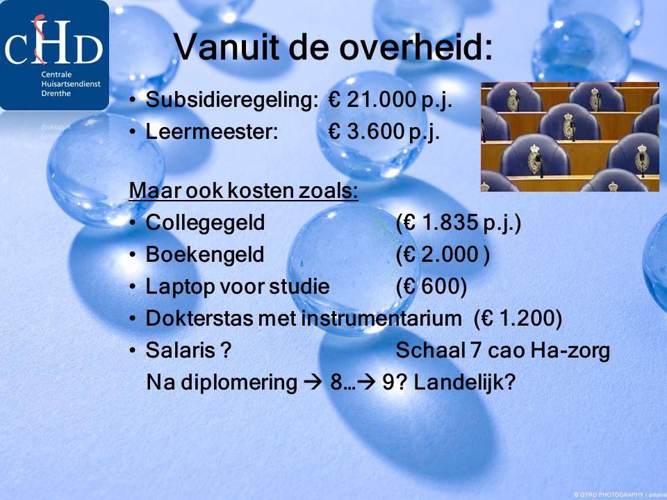 Vanuit de overheid: •Subsidieregeling: € 21.000 p.j. •Leermeester: € 3.600 p.j. Maar ook kosten zoals: •Collegegeld (€ 1.835 p.j.) •Boekengeld (€ 2.00