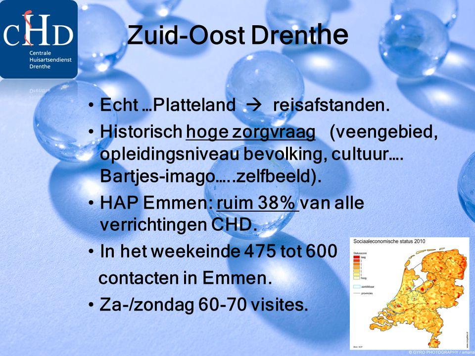 Zuid-Oost Drent he •Echt …Platteland  reisafstanden. •Historisch hoge zorgvraag (veengebied, opleidingsniveau bevolking, cultuur…. Bartjes-imago…..ze