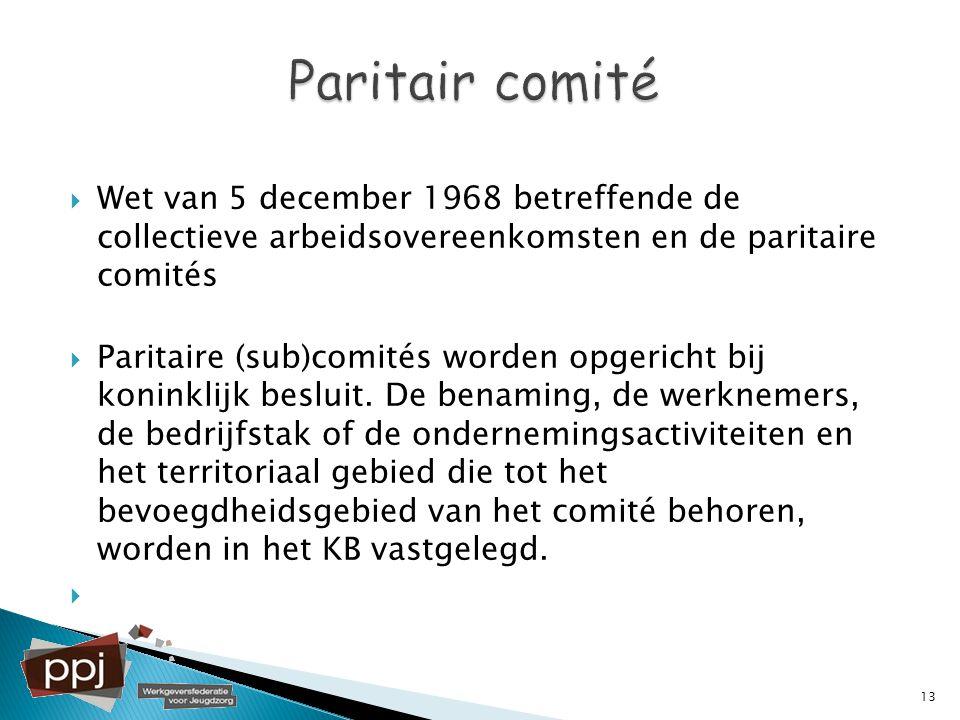  Wet van 5 december 1968 betreffende de collectieve arbeidsovereenkomsten en de paritaire comités  Paritaire (sub)comités worden opgericht bij konin