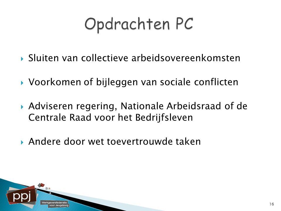  Sluiten van collectieve arbeidsovereenkomsten  Voorkomen of bijleggen van sociale conflicten  Adviseren regering, Nationale Arbeidsraad of de Cent